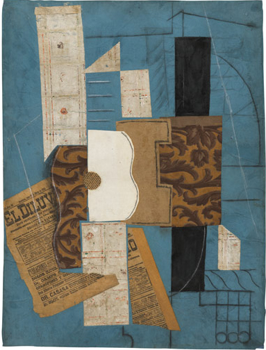 Pablo Picasso, Guitar, Collage. As I entered the 6th floor exhibition