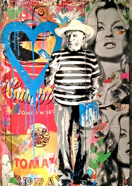 Art basel miami beach art of collage for Mural painted by street artist mr brainwash