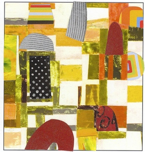 Nancy Egol Nikkal, collage on a card 1, 6x4, 2013