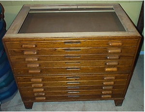 Antique Wood Flat Files