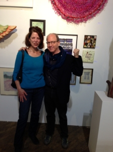 Jerry Saltz and me at Hullaballoo booth, Fountain 2013
