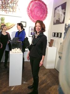 Artist Nancy Nikkal at Hullaballoo opening