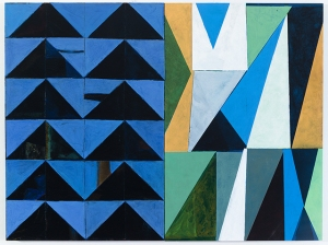 Nikkal, Blue Triangle Diptych, 24x32 inches