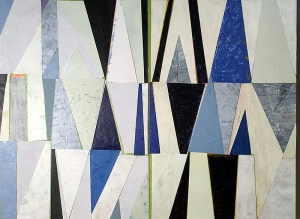 Nikkal, Blue & White Triangles, painted papers, 24x32 inches